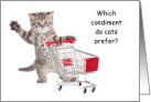 MAYO Condiment Cats Perfer Kitten and Shopping Cart card