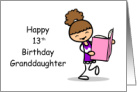 13th Birthday Brunette Granddaughter Book Reader Beginning Middle and End card