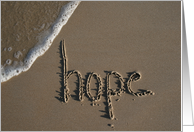 hope stay strong - sand & beach card