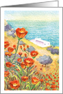 White House in a Mediterranean Turquoise Sea and Orange Poppy flowers blank card