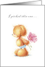 ruffled fur Baby Dog, just picked a wild rose, Happy Birthday card