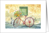 Thinking of You, Bicycle with Flowers in Handlebar Basket, Watercolor, card