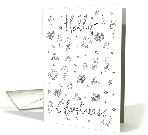 Patterned and coloring book Activity Hello Christmas card (1410944)