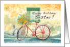 country bicycle, happy birthday card