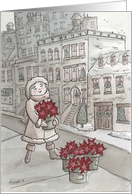 Red Poinsettia in the City Making Christmas Merry and Bright card