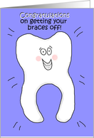 Congratulations On Getting Your Braces Off Whimsical Happy Blue Boy Paper Card