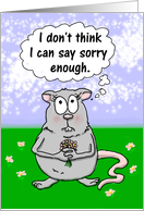 Sincere Apology,Cute Mouse with Flowers card