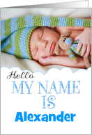 baby boy birth photo card announcement card