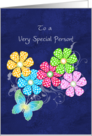 for a special person with check flowers and butterfly friendship card