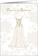 be my bridesmaid elegant gold floral dress card