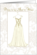 be my maid of honor elegant gold floral dress card