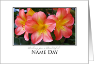 name day wishes peach rhododendrons card