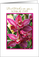 name day card with deep pink orchids card