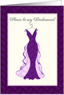 please be my bridesmaid purple lace gown card