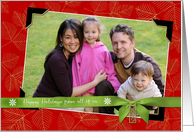 Happy Holidays Family Photo Red Leaf Frame Christmas 2018 charm card