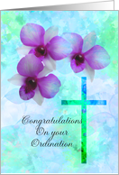 ordination congratulations, pink orchids card
