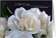 thank you bridesmaid white roses card