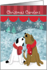 Christmas Carolers 2 Happy Dogs in the Snow card