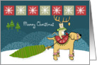 Merry Christmas Cat with Antlers Riding Dog in Snow card