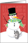 Happy Snowman and Cute Gray Cat in the Snow with Text Design card