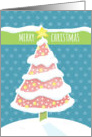 Lit Pink Christmas Tree with Snowy Branches and Star Topper card