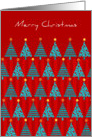 Teal Christmas Trees on Red Background Wish a Merry Christmas card