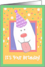 Birthday Wishes from Cute Dog Tongue Hanging Out Wearing Party Hat card