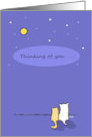 Thinking of You, Cat Dog Looking at Stars Miss You card