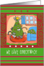 Cute Cats in Christmas Tree Love Holiday Candy Canes card