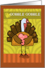Happy Thanksgiving Turkey Holding Pink Heart card