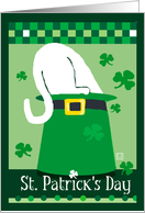 St. Patrick's Day Leprechaun Hat with White Cat card