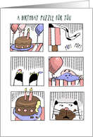 A Birthday Cake Mystery Puzzle with Cat and Balloons card