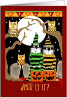 Two Scared Cats Trick or Treat with Owls Spooky Trees and Headstones card
