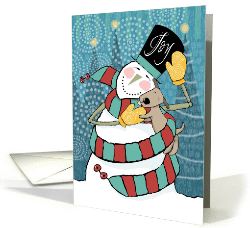 Joyful Snowman Wraps Puppy in His Scarf Holiday card (1313766)