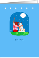 Friends, Child and Dog Look at Stars card