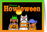Happy Halloween or Howloween Trick or Treating Dogs in Costumes card