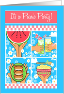 Picnic Party Invitation, Watermelon, Potato Salad, Hot Dogs, Lemonade card