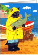 Fisher Cat Jet (a fisherman cat with boat and large fish), birthday, general card