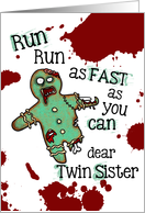 for Twin Sister - Undead Gingerbread Man - Zombie Christmas card