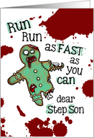 for Step Son - Undead Gingerbread Man - Zombie Christmas card