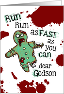 for Godson - Undead Gingerbread Man - Zombie Christmas card