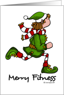 christmas - merry fitness running elf card
