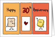 Happy 30th Anniversary - Butter Half card
