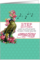 Step Mother - Singing Bird With Pink Flowers Note for Mother's Day card