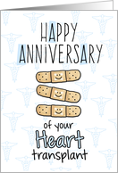 Cute Bandages - Happy Anniversary - Heart Transplant card