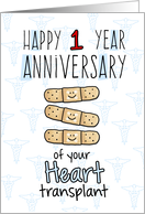 Cute Bandages - Happy 1 year Anniversary - Heart Transplant card