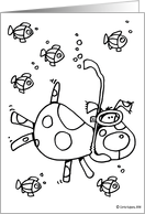 kids coloring card - snorkel doggy card