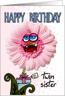 happy birthday flower twin sister card