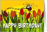 Happy Birthday tulips - from all of us card