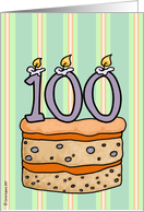 birthday - cake & candle 100 card